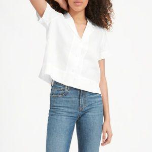 Everlane Linen Notch Short-Sleeve Shirt Sz 6 NWT